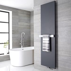 Design Flachheizkörper Vertikal Anthrazit 1800mm x 600mm 1404W mit 520mm Handtuchstange - Rubi