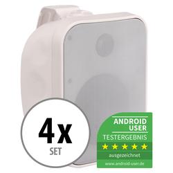 4er Set Pronomic OLS-5 WH Outdoor-Lautsprecher weiß 4x 80 Watt