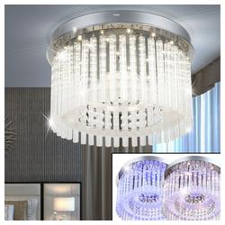 Globo Deckenleuchte, LED 18 Watt Decken Lampe Leuchte Esszimmer Chrom Glasstäbe Kristall Globo 68568-18