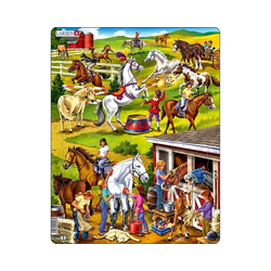 Larsen Puzzle Rahmen-Puzzle, 50 Teile, 36x28 cm, Reiterhof, Puzzleteile