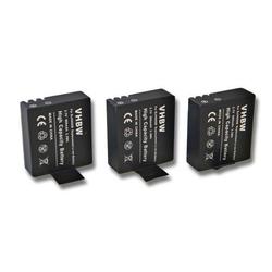vhbw 3x Akku passend für Apeman A60, A70, A80 Videokamera Camcorder (900mAh, 3,7V, Li-Ion) mit Infochip