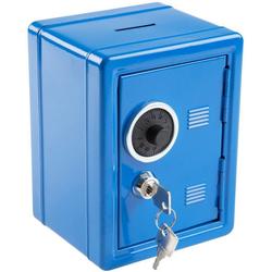 Idena Spardose Metalltresor mit Codeschloss, Spartresor, ca. 12 x 10,5 x 16 cm, mit Behälter für Kleinigkeiten, inklusive 2 Schlüssel blau