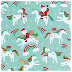 STAR Geschenkpapier, Geschenkpapier Weihnachtsmann & Einhorn 70cm x 2m, Rolle
