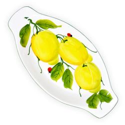 Lashuma Servierplatte Marienkäfer Zitrone, Keramik, Servierteller mit Rand, ovale Dessertschale 13 cm x 27 cm x 3 cm