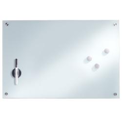 Zeller Glas Memoboard, Als Magnettafel nutzbar und komplett beschreibbar, Maße: 60 x 40 cm, weiß