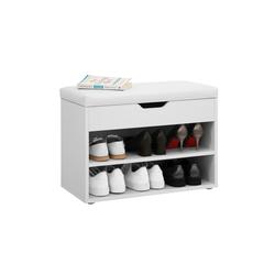 VASAGLE Schuhbank LHS20WT LHS30W, Schuhorganizer mit 2 Fächern, 60 x 30 x 44 cm, weiß