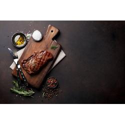 DesFoli Poster Steak auf Holzbrett Fleisch P1330 90 cm x 60 cm