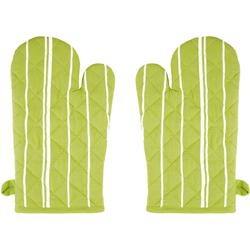 stuco Topfhandschuhe Streifen, (Set, 2-tlg), mit Aufhängeöse grün