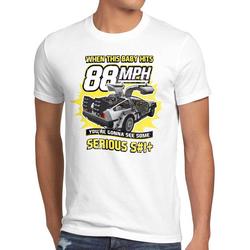 style3 Print-Shirt Herren T-Shirt 88mph delorean zukunft delorean zurück in die future back to the weiß S