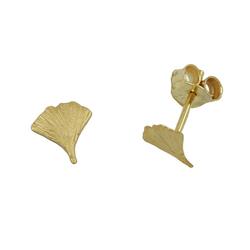 Gallay Paar Ohrstecker 375 Gelbgold Ohrringe 6,5x6mm Ginkgoblatt matt 9Kt GOLD