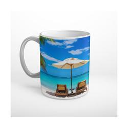 DesFoli Tasse Meer Strand Sonnenliege Sonnenschirm T1822, Keramik