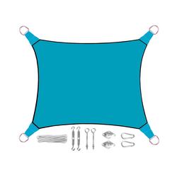 PEREL Sonnensegel, rechteckig 2x3m & 3x4m mit Ösen-Befestigung für Terrasse Balkon & Garten Sonnenschutz-Segel blau