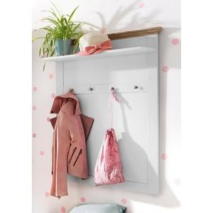 Home affaire Garderobenpaneel Binz, aus einer schönen Holzoptik, mit vier Haken und einer Ablagefläche weiß