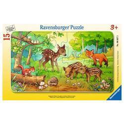 Ravensburger Rahmenpuzzle Tierkinder Des Waldes - Rahmenpuzzle, 15 Puzzleteile