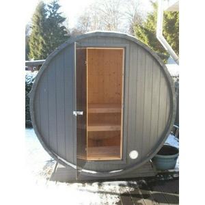 42 mm Terrassensauna Ø ca 204 cm + Elektroofen 230 V Sauna Saunafass Faßsauna