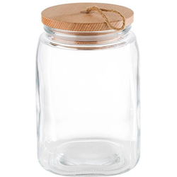 APS Vorratsglas, Glas, (Set, 2-tlg), mit Holzdeckel 2500 ml - 14 cm x 14 cm x 21,5 cm