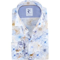 R2 Hemd Blume Blau - Blau Größe 43
