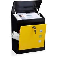 Relaxdays Briefkasten groß schwarz-gelb