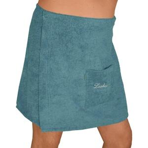Lashuma Männer Saunakilt Lausanne mit Tasche, Saunatuch Herren Farbe: Tauben Blau, Saunarock Größe: L - XL verstellbar