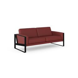 machalke® 2,5-Sitzer frame, Ledersofa mit Kufe in Schwarz rot
