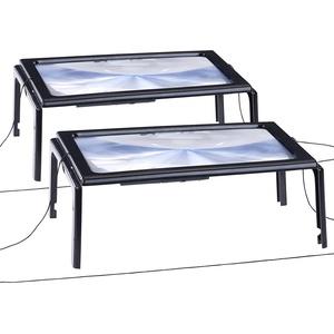 2er-Set XXL-Leselupe mit 3-facher Vergrößerung, 4 LEDs und Klappstände