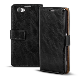 Retro Tasche für Sony Xperia Z1 Compact Hülle Wallet Case Handyhülle Vintage Slim Cover