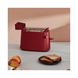 Alessi Toaster Toaster Plissé - Farbwahl, Europäischer Stecker, Elektrische Leistung 850 Watt rot