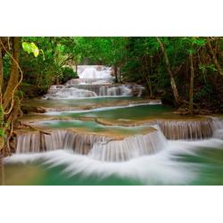 Fototapete Deep Forest Waterfall, Home affaire grün Fototapeten Tapeten Bauen Renovieren
