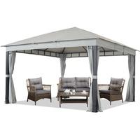TOOLPORT Gartenpavillon Sunset Premium 4 x 4 m inkl. Seitenteile stone