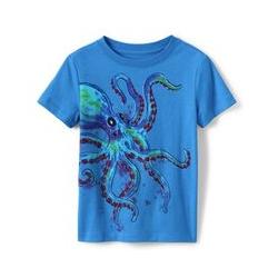 Grafik-Shirt, Größe: 122/128, Sonstige, Jersey, by Lands' End, Oktopus - 122/128 - Oktopus