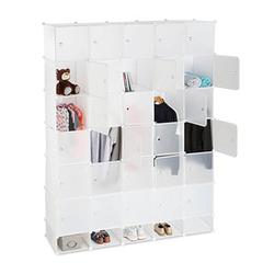 relaxdays Kleiderschrank transparent / weiß