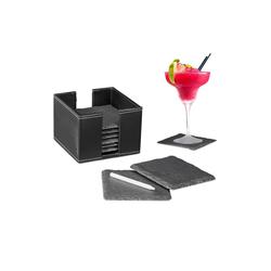 relaxdays Getränkeuntersetzer Schiefer Untersetzer 8er Set mit Box