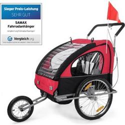 SAMAX Fahrradanhänger 2in1 Jogger - in Rot/Schwarz - Silver Frame