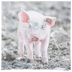 Linoows Papierserviette 20 Servietten Ferkel auf dem Bauernhof, kleines, Motiv Ferkel auf dem Bauernhof, kleines Schweinchen