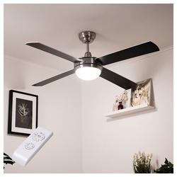 etc-shop Deckenventilator, LED Deckenventilator mit Beleuchtung und Fernbedienung leise 132 cm Deckenlampe mit Ventilator silber, Sommer-/Wintermodus 3 Stufen, 2x LED 11 W 1055lm, H 33 cm