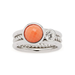 LEONARDO Ring-Set Letizia, 017917, 18, 19 (Set, 2-tlg), mit Glas- und Kristallstein 18