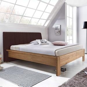 Bett aus Eiche Polsterkopfteil in Braun