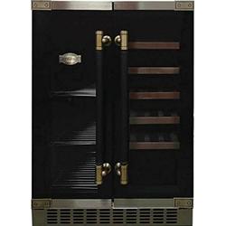 Kaiser Küchengeräte Weinkühlschrank K 64800 AD, für 20 Standardflaschen á 0,75l,Retro Weinkühlschrank, 63 Bierdosen, LED Display, Freistehend/Unterbau,2 Klimazonen,Kühlschrank für Wein und Bier