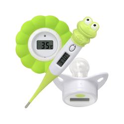MELISSA Reisebehälter Melissa 16690070 Baby Thermometer Baby Schnuller Thermometer Badewasser Thermometer all in Box Reise Urlaub Grün