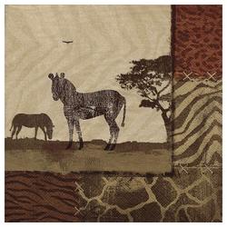Linoows Papierserviette 20 Servietten Afrika, Zebra, Zebra´s in Savanne, Motiv Afrika, Zebra, Zebra´s in Savanne