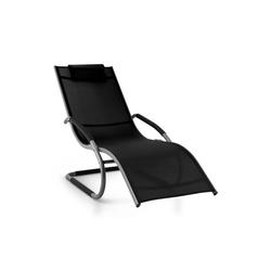 blumfeldt Gartenliege Sunwave Gartenliege Liegestuhl Schwingliege Relax Aluminium schwarz, Schwingeffekt, ergonomisch geformte Gartenliege, robuste Konstruktion