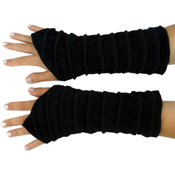 Guru-Shop Armstulpen Handstulpen Armstulpen aus Samtstoff - schwarz schwarz