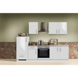 Menke Küchen Küchenzeile White Premium 270 cm, Weiß Hochglanz