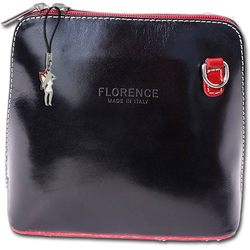 FLORENCE Umhängetasche D2OTF109S Florence Echtleder Damentasche Mini, Damen Tasche aus Echtleder, Rindsleder in schwarz, rot, Made-In Italy