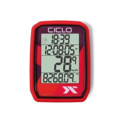 Ciclosport Fahrradcomputer Protos 205 Funk Fahrradtacho 4 Zeilen Display ohne Tasten rot