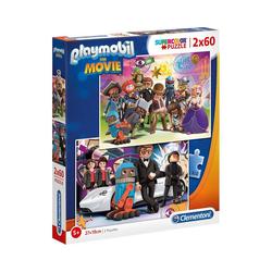 Clementoni® Puzzle Puzzle 2 x 60 Teile Supercolor Playmobil the Movie, Puzzleteile