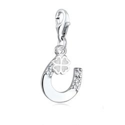 Elli Charm-Einhänger Glücksbringer Kristalle 925 Silber, Hufeisen weiß
