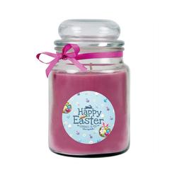 HS Candle Duftkerze (1-tlg), Frohe Ostern - Bis zu 110h Brenndauer - Kerze im Bonbon Glas, Kerze mit Motiv zur Osterzeit, vers. Düfte / Größen lila Ø 10 cm x 16 cm