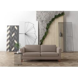 machalke® 3-Sitzer amadeo, Ledersofa mit geschwungenen Armlehnen, Breite 213 cm grau