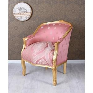 Barockstuhl Sessel Gold Rosa Bergere Barock Armlehnstuhl Antik Prunksessel Stuhl
